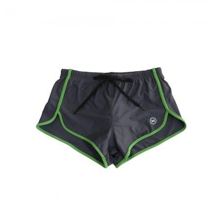 Swim Shorts:  Grey with Green Trim