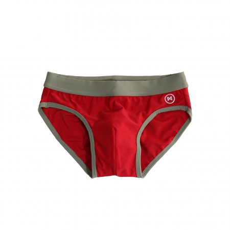 Swim Briefs: Red and Taup Brown Trim