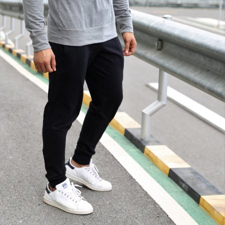 Jogger Pants: Black Side Strip on Black