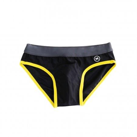 Swim Briefs: Black/Grey with YellowTrim