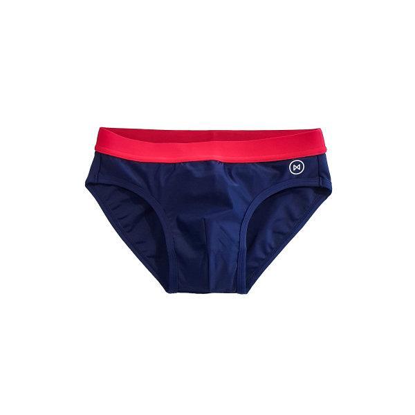 Swim Briefs: Navy Blue/Red Wasit Band