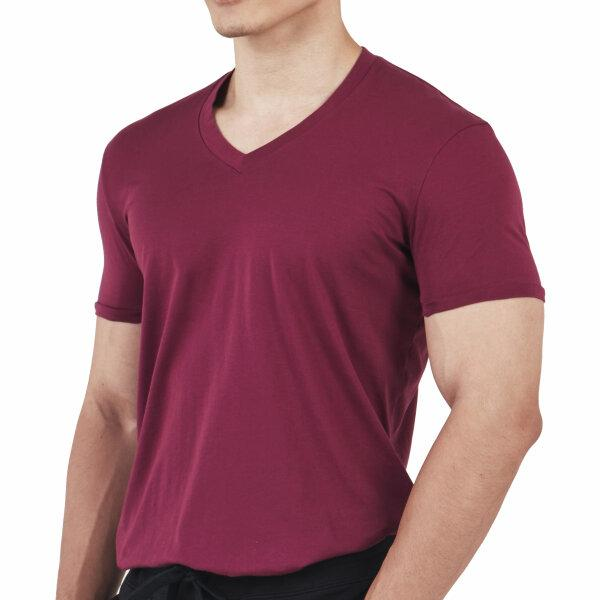 V-neck T-shirt: Burgundy Red