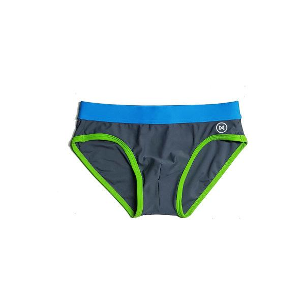 Swim Briefs: Grey/Blue/Green