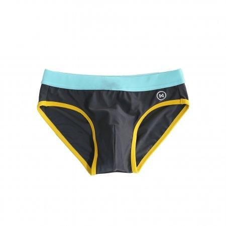 Swim Briefs: Dark Grey/Light Blue & Yellow Trim