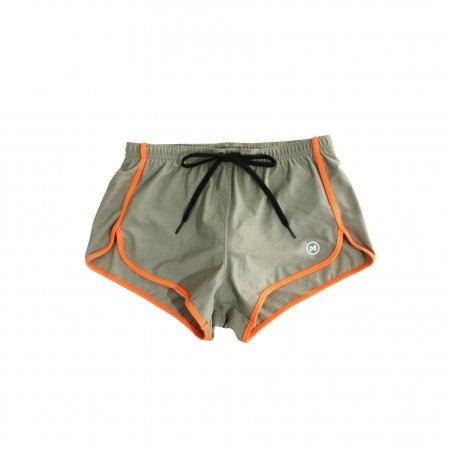 Swim Shorts: Taup Brown with Orange Trim