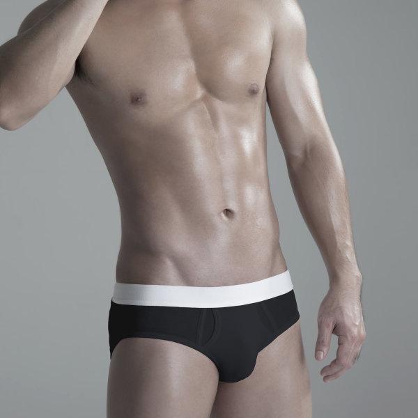 Briefs Underwear: Black / White Waist Band