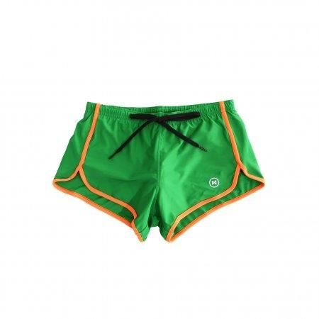 Swim Shorts: Green with Orange Trim