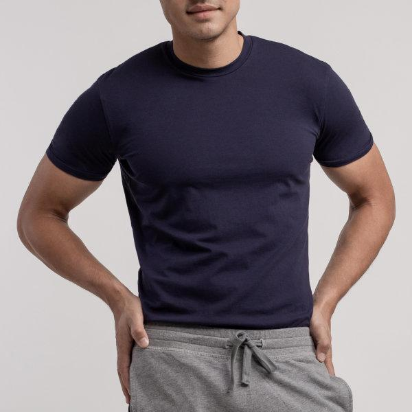 Round Neck T-shirt: Navy Blue