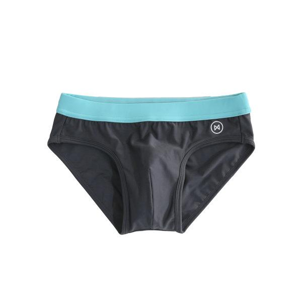 Swim Briefs: Dark Grey/Light Blue Trim