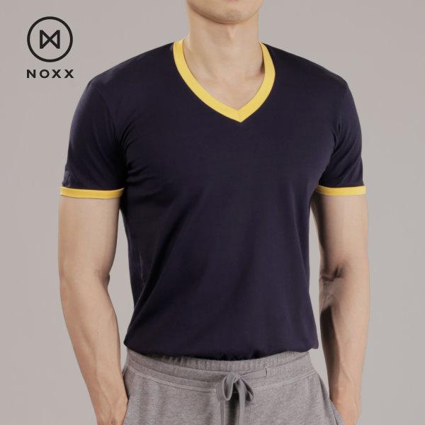 V-neck: Navy Blue / Yellow Trim