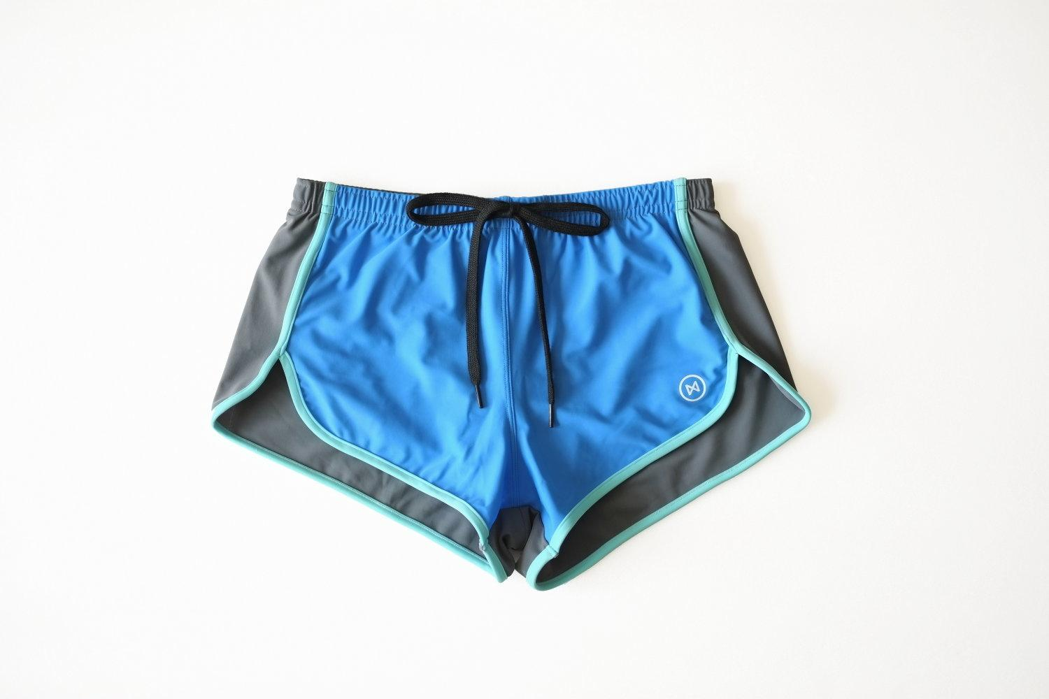 Swim Shorts: Blue/Grey/Light Blue Trim