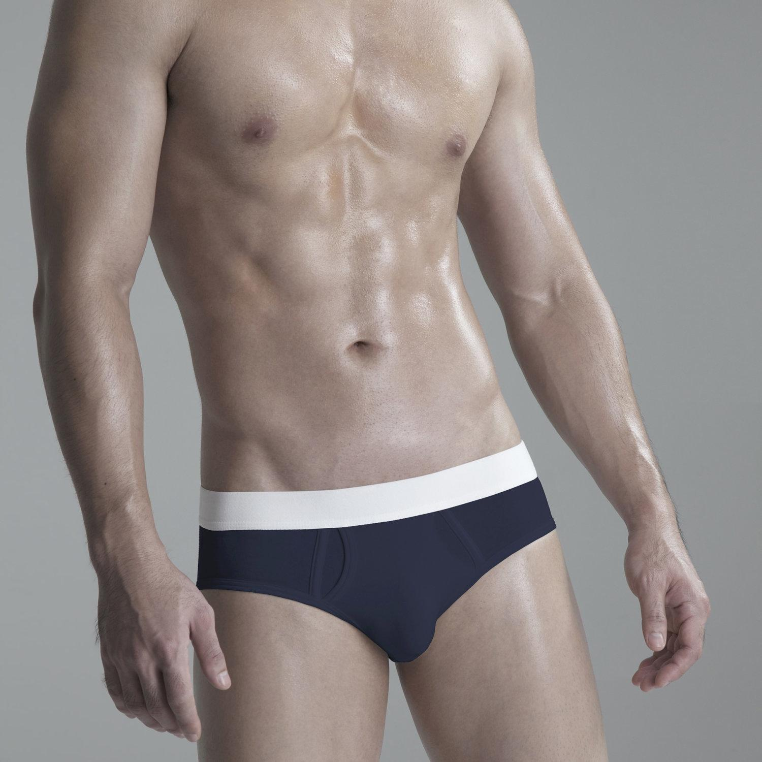 Briefs Underwear: Navy Blue / White Waist Band