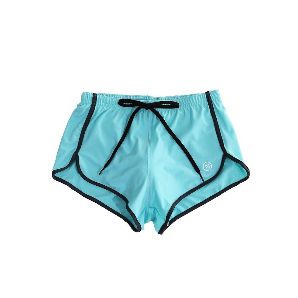 Swim Shorts: Light Blue with Navy Grey Trim