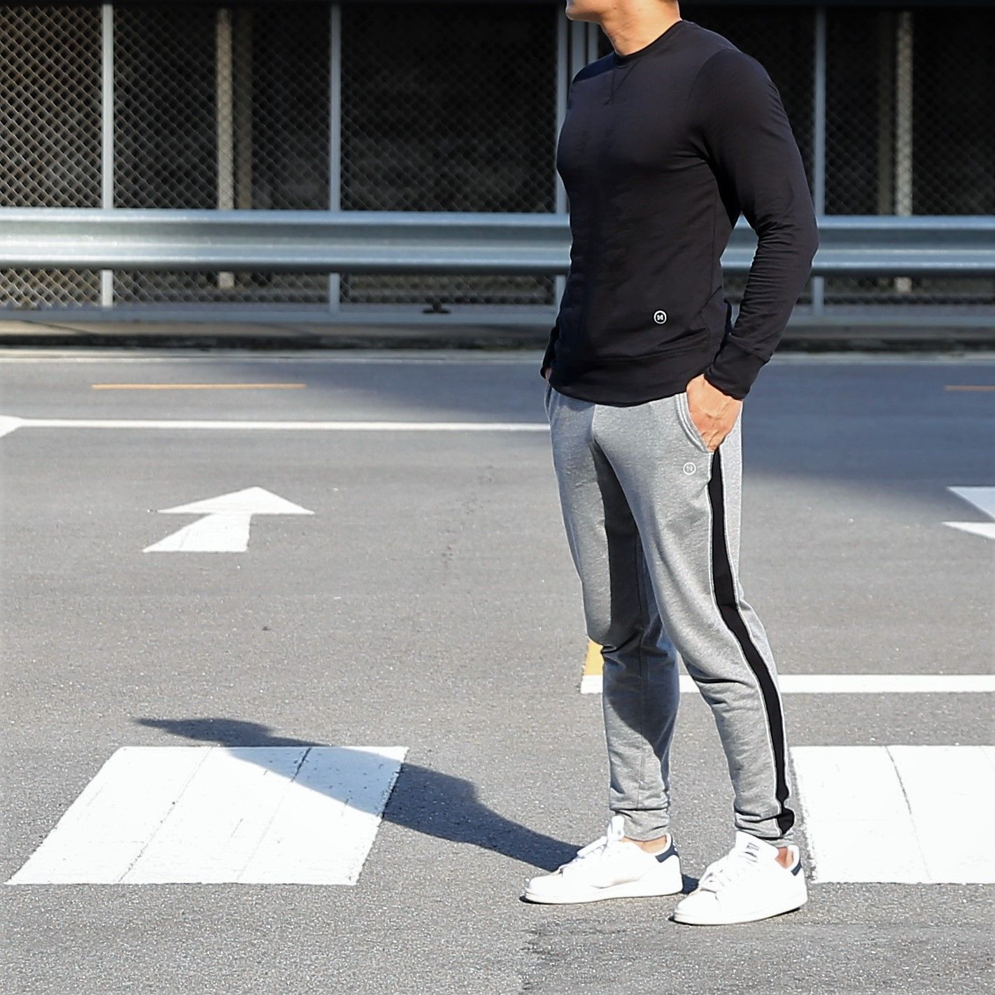 Jogger Pants: Grey with Black Side Strip