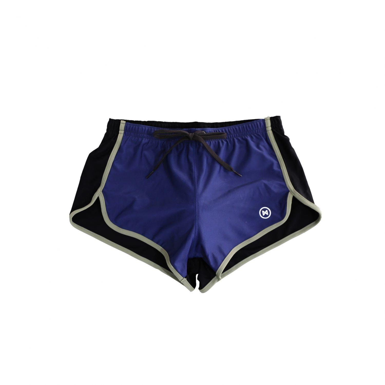Swim Shorts: Navy Blue/Black with Grey Trim