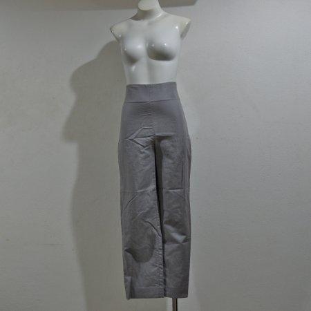 กางเกงเอวสูงขายาวทรงขากระบอกสีเทาผ้าลินิน
