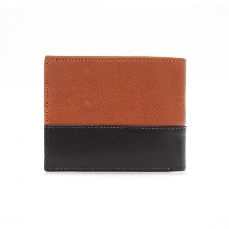 กระเป๋าธนบัตร หนังแท้ Two-Tone รุ่น WL17-06 (สีส้ม-ตาล)