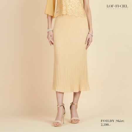 Lofficiel Skirt  กระโปรงออกงาน ผ้าอัดพลีท สีทอง FO1LDY