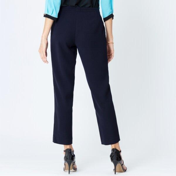 Lofficiel Runway Pants ลอฟฟิเซียล กางเกงเนื้อผ้าซีฟิล ทรงรันเวย์ สีกรม FV86NV