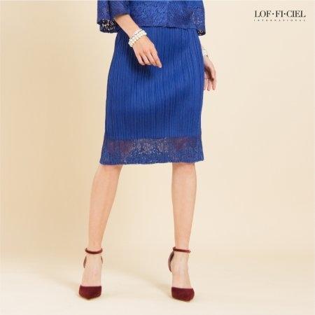 Lofficiel Skirt กระโปรงอัดพลีท ต่อชายลูกไม้ สีน้ำเงิน FR1BNV
