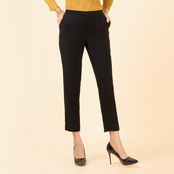กางเกงขายาวทรง 5 ส่วน สีดำ FI2KBL