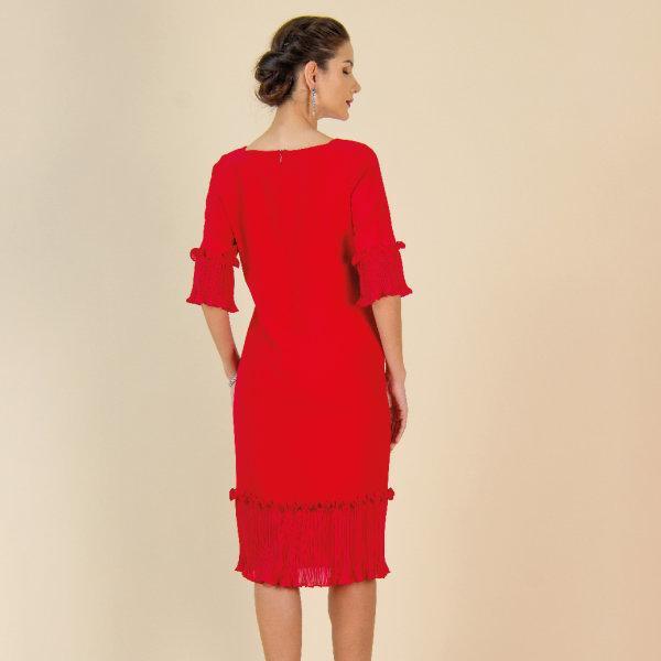 Lofficiel Business Dress เดรสยาวทรงตรง แขนยาว 4 ส่วน แต่งผ้าพลีท สีแดงสด FS12RE
