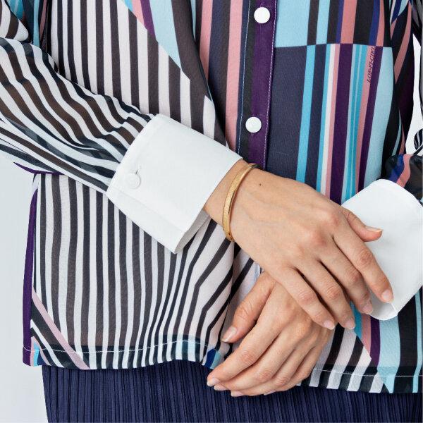 Lofficiel Print Shirt ลอฟฟิเซียล เสื้อเชิ้ตทำงานทรงเบสิค เนื้อผ้าชีฟองพิมพ์ลายสเตรจเวฟ FV8IWI