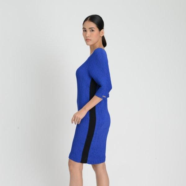 Loffciel Pleated Chiffon Dress ลอฟฟิเซียล เดรสผ้าชีฟองอัดพลีท สีน้ำเงิน FM1KNV