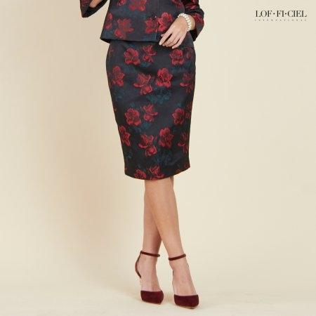 Lofficiel Skirt กระโปรงทรงสอบ ลายกุหลาบ FR2QMR