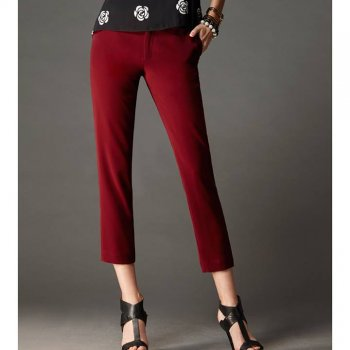 Lofficiel Pants กางเกงขา 5 ส่วน ทรงกระบอก สีแดง FM1LDE