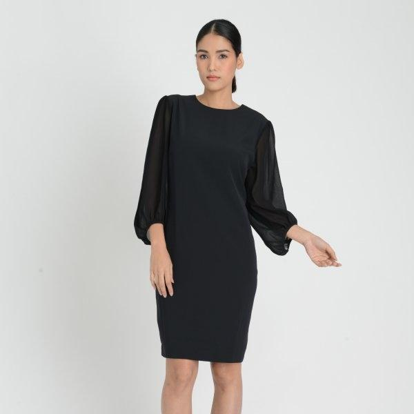 Lofficiel Business Luxury Dress ลอฟฟิเซียล เดรสทำงานและออกงาน แขนยาว เนื้อผ้าชีฟอง สีดำ FL5GBL