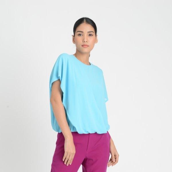 Lofficiel Business Chiffon Short-Sleeve Blouse ลอฟฟิเซียล เสื้อเบลาส์ทำงานแขนสั้น เนื้อผ้าชีฟอง สีฟ้า FL1GBU