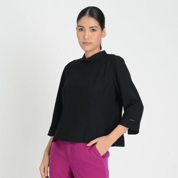 Lofficiel Business Blouse ลอฟฟิเซียล เสื้อเบลาส์ทำงานแขนยาว สีดำ FL5PBL