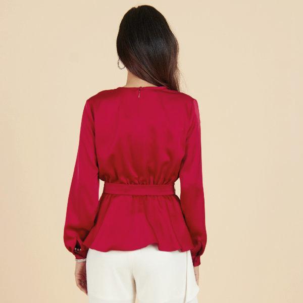 Lofficiel Blouse เสื้อทำงานสีแดงเชอร์รี่ มีเข็มขัด  FU9IDE
