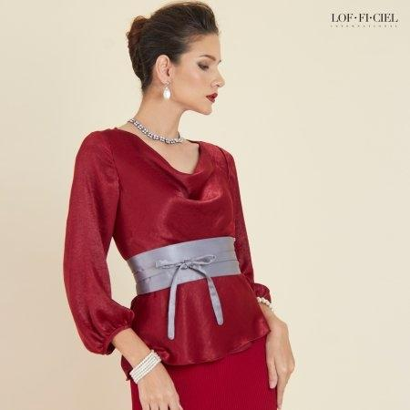 Lofficiel Blouse เสื้อเบลาส์แขนยาว คอถ่วง สีแดงเลือดนก  FR4LDE