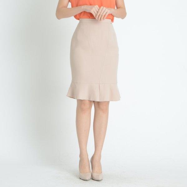 Lofficiel Business Skirt ลอฟฟิเซียล กระโปรงทำงานทรงสอบ แต่งระบาย สีน้ำตาลอ่อน FFBTLW