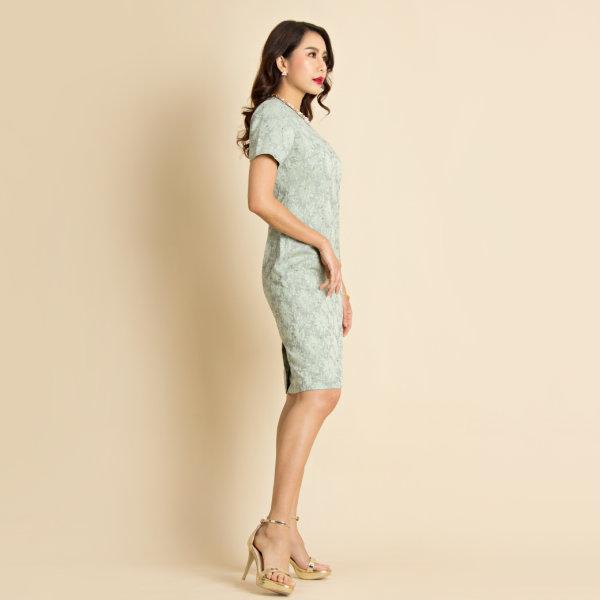 ฺLofficiel Dress เดรสออกงาน ผ้าปักลายลูกไม้ สีเขียวอ่อน FU9NGR