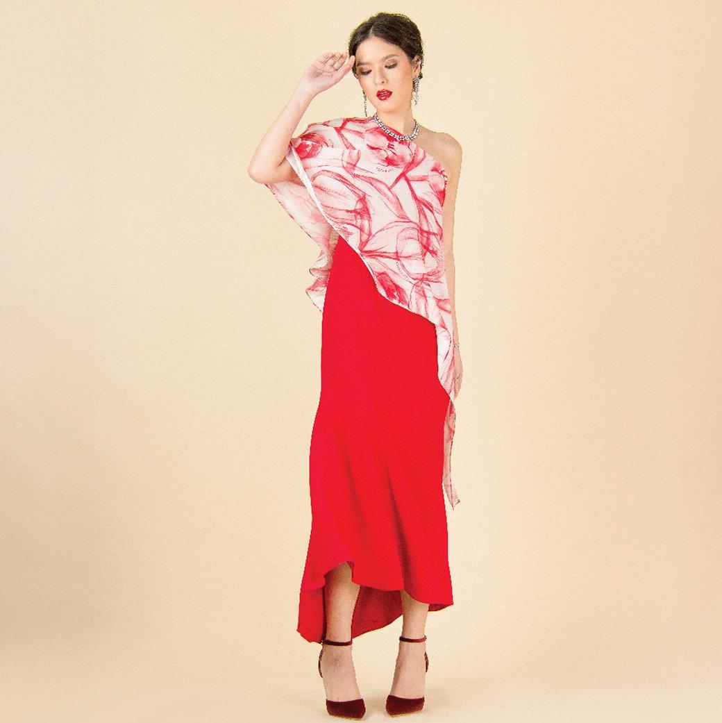 Lofficiel Party Dress เดรสยาวออกงานเนื้อผ้าชีฟองพิมพ์ลายดอกทิวลิป ดีเทลเปิดไหล่ สีแดง FS11RE
