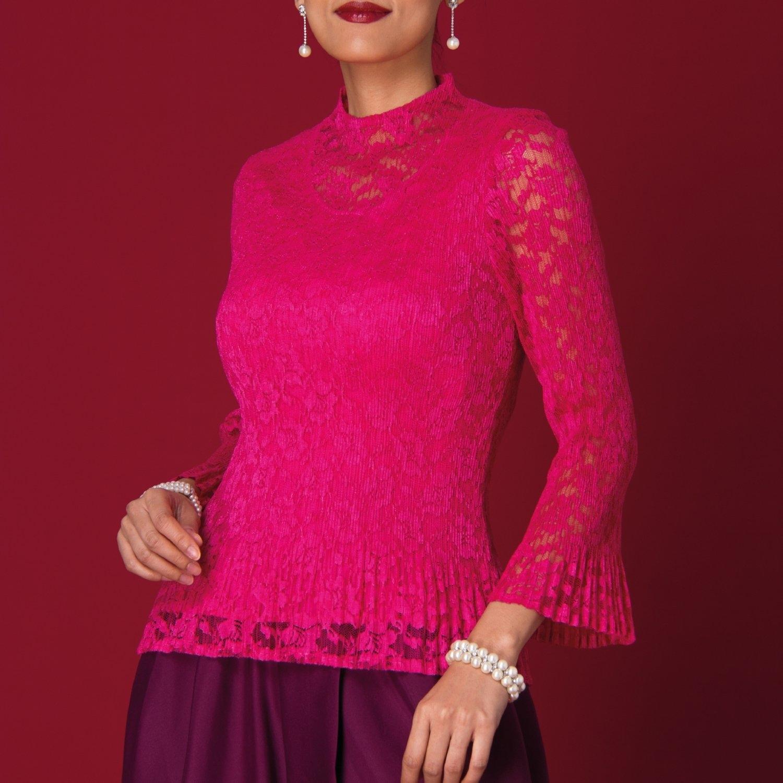 Lofficiel Color Lace Blouse ลอฟฟิเซียล เสื้อเบลาส์ออกงานแขนยาว เนื้อผ้าอัดพลีท สีชมพู FS2WPI