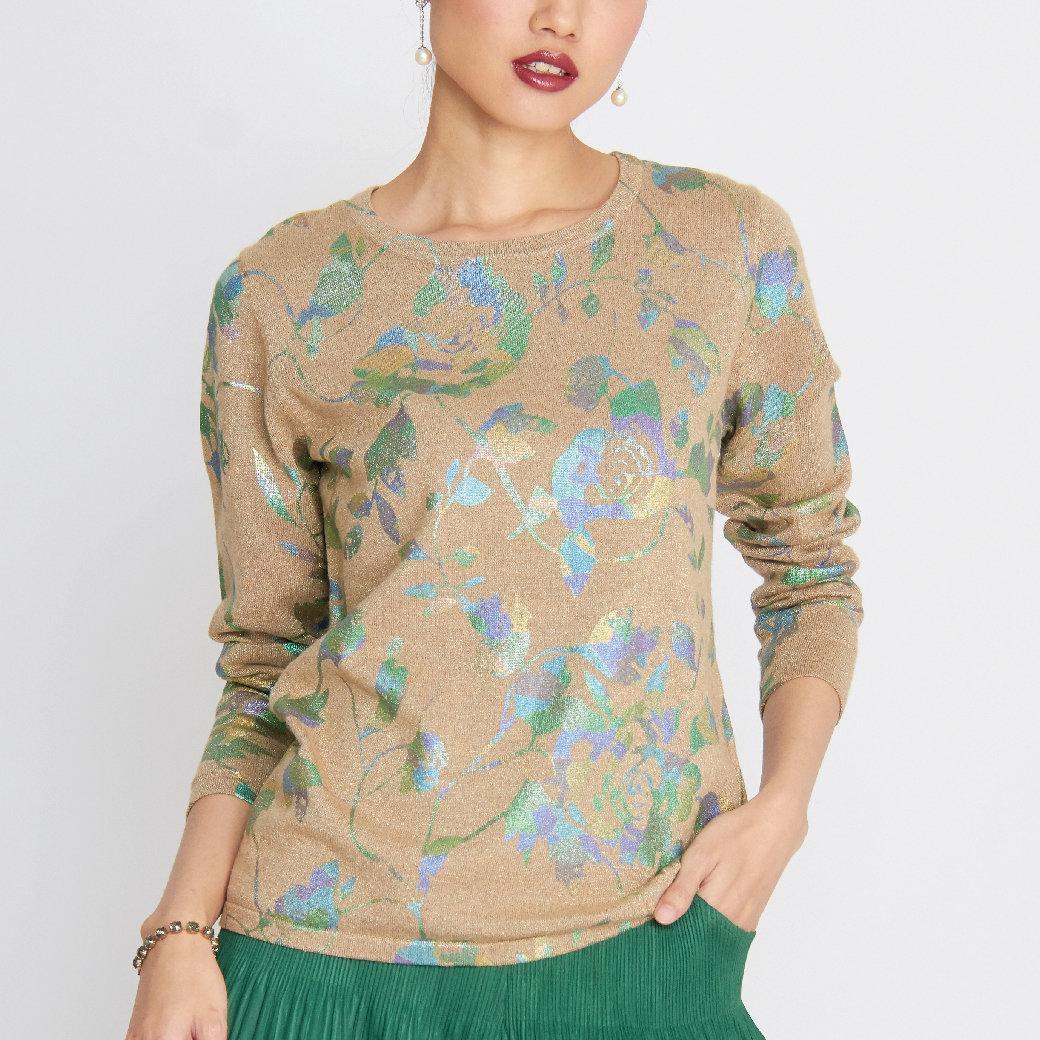 เสื้อแขนยาว ผ้านิตติ้ง สกรีนลายดอกกุหลาบ FT5WLW