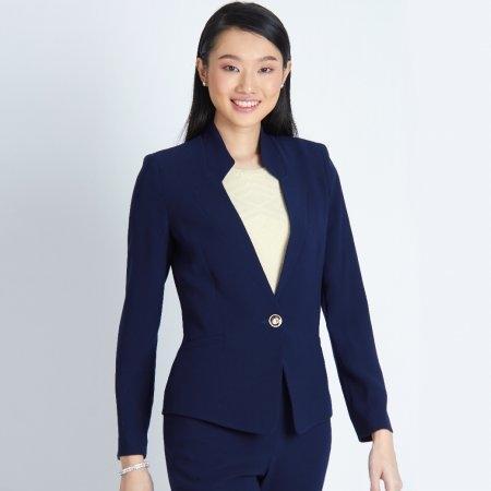 เสื้อแจ็คเก็ตทรงสูทผู้หญิง ทรงโมเดิร์นสีกรม ไม่มีปก | Jousse JR55NV