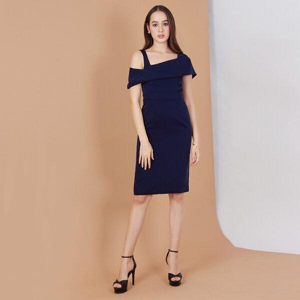 Jousse Dress เดรสไปงานสีกรมเรียบหรู ดีไซน์เปิดไหล่ ทรงสอบ JT5GNV
