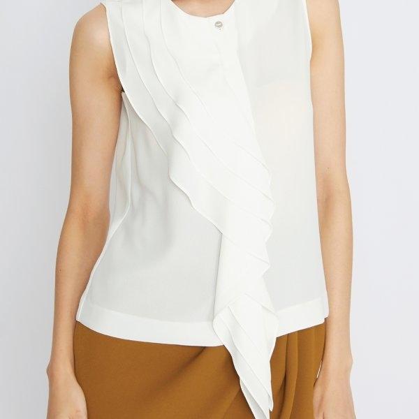 Jousse Blouse เสื้อแขนกุดผู้หญิง สีขาว ตกแต่งระบายไล่ระดับ