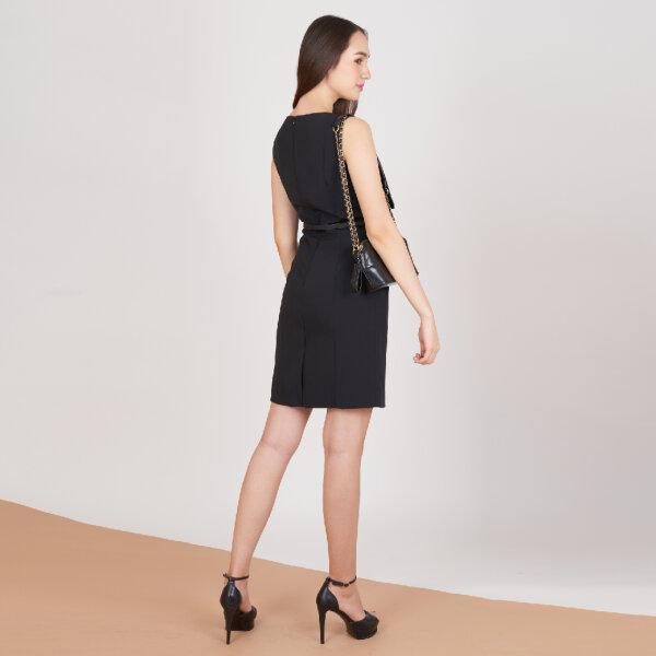 Jousse Dress ชุดเดรส เดรสทำงานแขนกุด สีดำทรงสอบเข้ารูป ความยาวสุภาพ  JV1ZBL