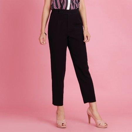 กางเกงทำงานผู้หญิงขายาว ทรงกระบอก สีดำ | Jousse