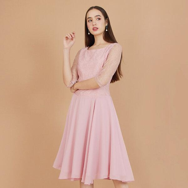 Jousse Dress ชุดเดรสออกงานสีชมพู ผ้าลูกไม้ สไตล์เจ้าหญิง Jousse JS31PI