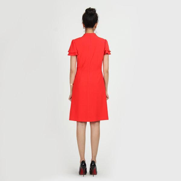 Jousse Dress ชุดเดรสทำงาน เดรสทำงาน เดรสสีแดง ทรงเอ คอแต่ง แต่งแขนระบายสองชั้น  JU17RE