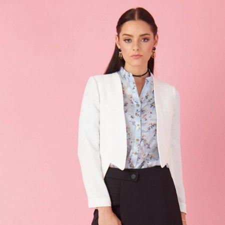 เสื้อแจ็คเก็ต ทรงสูท ตัวสั้นสีขาว สไตล์โมเดิร์น  | Jousse