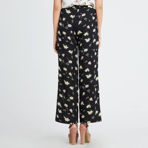 Jousse Pants กางเกงขายาว ลายดอกไม้ ทรงขาบาน ผ้าชีฟอง JT7DBL