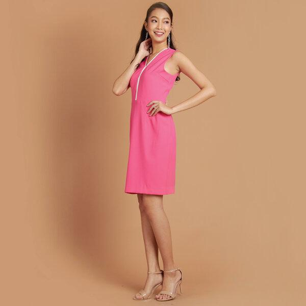 Jousse Dress ชุดเดรส เดรสทำงาน สีชมพูสดใส แขนกุด ทรงสอบเข้ารูป JULEPI